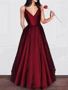 Simple A Line V Neck Burgundy Satin Long Prom Dresses with Pockets, Spaghetti Straps Long Evening Dresses