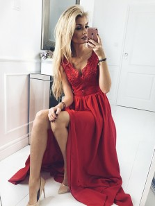 Elegant A Line V Neck Open Back Dark Red Lace Long Prom Dresses, Beautiful Evening Dresses with Beading