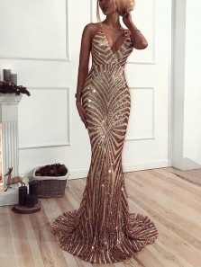 Gorgeous Mermaid V Neck Spaghetti Straps Champagne Sequins Long Prom Dresses, Sexy Sparky Evening Dresses