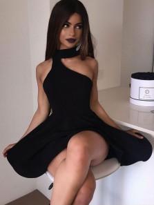 Cute A Line Halter Black Short Homecoming Dresses, Short Prom Dresses, White Short Prom Dresses Under 100