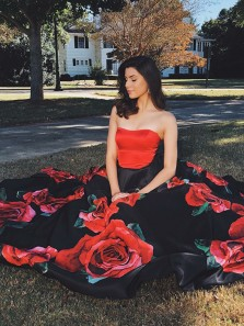 Floral Ball Gown Black Sweetheart Strapless Long Prom Dresses with Pockets, Elegant Evening Dresses, Graduation Dresses