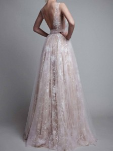 Gorgeous A Line V Neck Open Back White Lace Long Prom Dresses, Elegant Evening Dresses