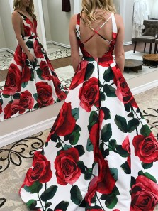 Gorgeous Ball Gown V Neck Cross Back Floral Satin Long Prom Dresses with Pockets, Formal Evening Dresses PD0227003