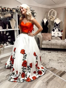 Elegant Ball Gown Two Piece Sweetheart Floral Ivory Satin Long Prom Dresses with Pockets, Formal Evening Dresses
