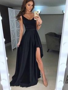 Elegant A Line V Neck Open Back Split Black Satin Long Prom Dresses with Pockets, Formal Evening Dresses