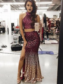 Charming Two Piece Mermaid Halter Sequins Split Long Prom Dresses, Sparkly Evening Dresses