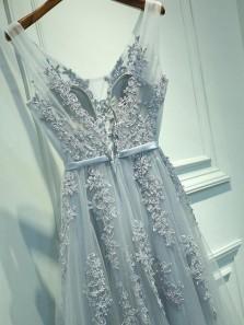 Elegant A Line V Neck Open Back Grey Lace Long Prom Dresses, Formal Evening Dresses