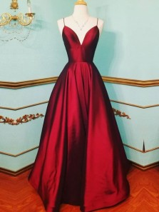 Sexy V Neck Burgundy Spaghetti Straps Prom Dresses Evening Gown with Pockets