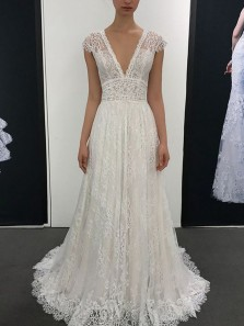 Elegant A Line V Neck Open Back Ivory Lace Long Wedding Dresses, Fairy Wedding Dresses, Beach Wedding Dresses WD0303001