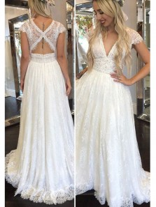 Elegant A Line V Neck Open Back Ivory Lace Long Wedding Dresses, Fairy Wedding Dresses, Beach Wedding Dresses WD0303001