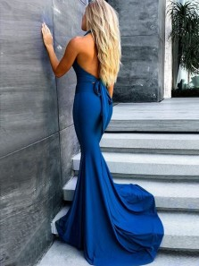 Sexy Mermaid V Neck Open Back Royal Blue Long Bridesmaid Dresses, Sexy Bridesmaid Gowns