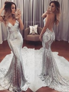 Sexy Mermaid V Neck Spaghetti Straps Silver Sequins Long Prom Dresses, Sparkly Evening Gowns PD0303004