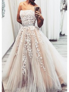 Charming Ball Gown Strapless Champagne Lace Long Prom Dresses, Elegant Evening Gowns