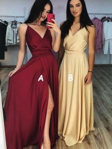 Sexy A Line V Neck Spaghetti Straps Split Burgundy Long Prom Dresses Under 100, Simple Prom Dresses