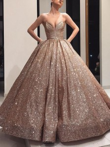 Gorgeous Ball Gown Sweetheart Open Back Champagne Sequins Long Prom Dresses, Flare Evening Gowns