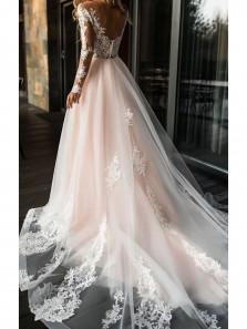 Vintage and Modern A Line V Neck Open Back Long Sleeves Blush Pink Long Wedding Dresses WD0307001