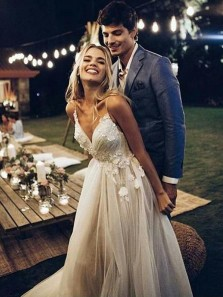 Charming A Line V Neck Spaghetti Straps Wedding Dresses with Lace, Gorgeous Wedding Dresses WD0307002