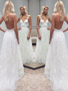 Charming A Line V Neck Open Back Spaghetti Straps White Lace Long Wedding Dresses WD0307003