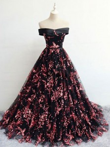 Ball Gown Off the Shoulder Open Back Lace Long Prom Dresses, Sparkly Long Prom Dresses