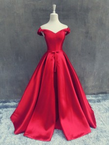 Gorgeous Ball Gown Off the Shoulder Red Satin Long Prom Dresses, Elegant Evening Party Dresses with Bow