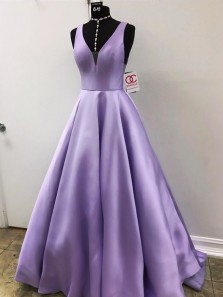 Gorgeous Ball Gown V Neck Open Back Purple Satin Long Prom Dresses with Pockets, Elegant Evening Dresses, Sherri Hill Prom Dresses