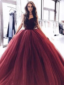 Gorgeous Ball Gown Sweetheart Burgundy & Black Tulle Long Prom Dresses with Beading, Quinceanera Dresses