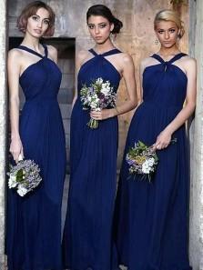 Simple A Line Halter Neck Navy Blue Chiffon Long Bridesmaid Dresses, Elegant Bridesmaid Dresses