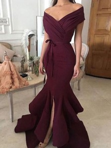 Unique Mermaid Off the Shoulder Ruffled & Split Burgundy Chiffon Long Prom Dresses, Charming Evening Dresses