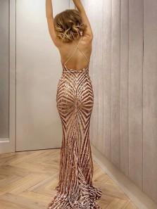Sexy Mermaid V Neck Cross Back Blush Sequins Long Prom Dresses, Sparkly Evening Dresses