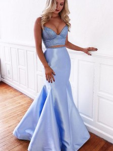 Sexy Mermaid Two Piece Sweetheart Cross Back Spaghetti Straps Blue Satin Long Prom Dresses with Beading, Charming Evening Dresses PD0313002