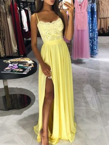 Gorgeous A Line V Neck Backless Spaghetti Straps Slit Blush Chiffon Beaded Long Prom Dresses with Appliques, Formal Evening Dresses