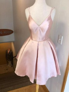 Cute A Line V Neck Spaghetti Straps Blush Pink Short Homecoming Dresses with Pockets, Short Prom Dresses Under 100 HD0315002