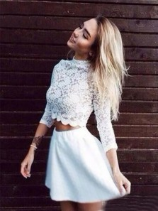 Elegant A Line Two Piece High Neck Long Sleeves White Lace Short Homecoming Dresses, Cheap Short Prom Dresses HD0315001