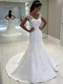 Mermaid V Neck Open Back Ivory Lace Long Wedding Dresses, Embroidery Long Wedding Gowns