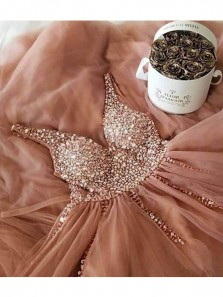 Sparkly A Line V Neck Open Back Blush Long Prom Dresses, Beaded Evening Party Dresses PD0315001