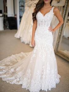 Gorgeous Mermaid V Neck Open Back Lace Long Wedding Dresses WD0315002
