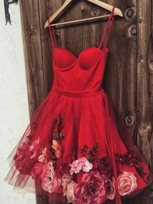 A Line Sweetheart Spaghetti Straps Red Flower Homecoming Dresses, Short Prom Dresses HD0319001