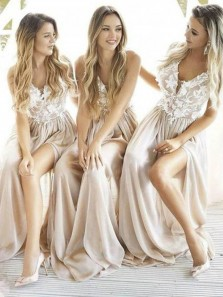Charming V Neck Spaghetti Straps White Lace Champagne Split Long Bridesmaid Dresses, Elegant Bridesmaid Gowns BD0319002