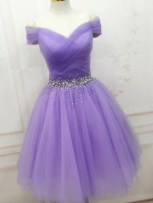 Cute A Line Off the Shoulder Lavender Tulle Short Homecoming Dresses with Beading, Charming Short Prom Dresses