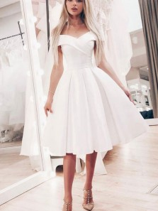 Cute A Line Off the Shoulder White Elastic Satin Short Prom Dresses, Elegant Pleats Prom Dresses