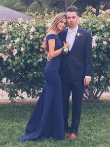 Charming Navy Mermaid Off the Shoulder Long Prom Dresses, Beautiful Bridesmaid Dresses