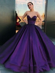 Gorgeous Ball Gown V Neck Satin Purple Long Prom Dresses with Pockets, Beading Quinceanera Dresses