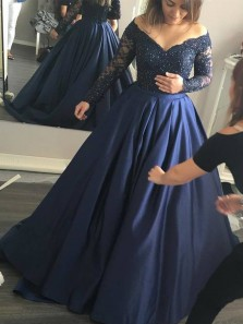 Gorgeous Ball Gown V Neck Long Sleeves Navy Lace Long Prom Dresses with Beading, Elegant Evening Dresses