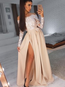 Charming A Line Off the Shoulder Long Sleeves Champagne White Lace Split Long Prom Dresses, Elegant Evening Dresses