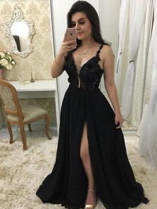 Charming Chiffon Black Lace Split Long Prom Dresses with Appliques, Sexy Evening Dresses