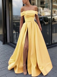 Ball Gown Off the Shoulder High Split Blue Long Prom Dresses with Pockets, Elegant Evening Dresses
