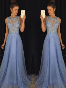 Charming A Line Round Neck Open Back Blue Chiffon Long Prom Dresses with Appliques, Beading Evening Dresses