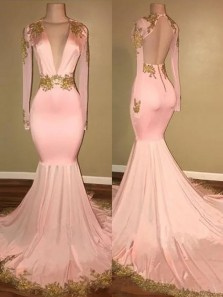 Gorgeous Mermaid V Neck Long Sleeves Open Back Blush Pink Long Prom Dresses with Gold Appliques, Elegant Evening Dresses