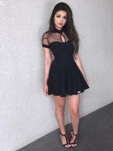 Cute A Line Round Neck Open Back Short Sleeves Black Homecoming Dresses, Little Black Dresses, Short Prom Dresses Under 100