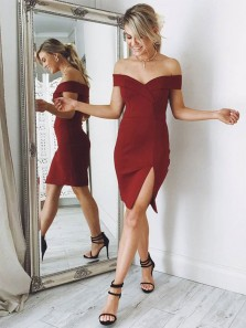 Simple Sheath Off the Shoulder Split Burgundy Short/Mini Homecoming Dresses, Short Prom Dresses Under 100